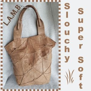 L.A.M.B. Tan Leather Distressed Leather Tote Bag